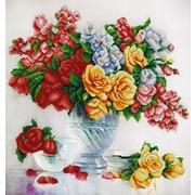 """Ткань с рисунком для вышивки бисером Конёк """"Розовый флер"""""""