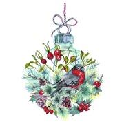 """Ткань с рисунком для вышивки бисером Матрёнин посад """"Рождественский шар"""""""