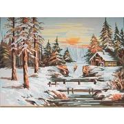 "Канва/ткань с нанесенным рисунком Grafitec ""Зимний закат"""