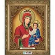 """Ткань с рисунком для вышивки бисером МОСФА """"Икона Иверская Богородица"""""""
