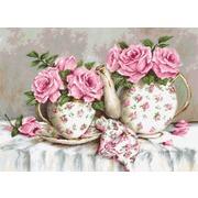 """Набор для вышивания крестом Luca-S """"Утренний чай и розы"""""""