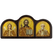 """Набор для вышивания бисером Nova sloboda """"Триптих настольный золото (Ангел Хранитель, Спаситель, Николай Чудотворец)"""""""