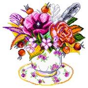 """Канва с нанесенным рисунком Матрёнин посад """"Шиповник в чашке"""""""