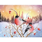 """Ткань с рисунком для вышивки бисером М.П. Студия """"Снегири на рассвете"""""""
