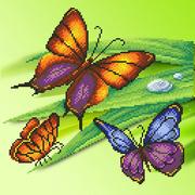 """Ткань с рисунком для вышивки бисером М.П. Студия """"Трио бабочек"""""""