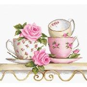 """Набор для вышивания крестом Luca-S """"Чайные чашки с розами"""""""