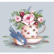 """Набор для вышивания крестом Luca-S """"Птичка и чашка чая"""""""