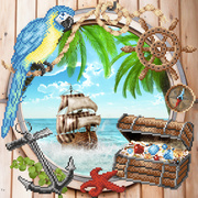 """Канва/ткань с нанесенным рисунком М.П. Студия """"Пиратская бухта"""""""