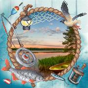"""Ткань с рисунком для вышивки бисером М.П. Студия """"Сезон рыбалки"""""""
