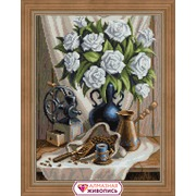 """Набор для выкладывания мозаики Алмазная живопись """"Белые розы и черный кофе"""""""