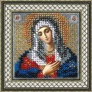 """Ткань с рисунком для вышивки бисером Вышивальная Мозаика """"Икона Пресвятая Борогодица Умиление"""""""
