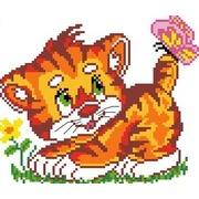 """Набор для вышивания крестом Каролинка """"Котенок с бабочкой"""""""