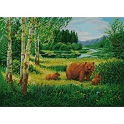 """Ткань с рисунком для вышивки бисером Конёк """"Пейзаж с медведями"""""""