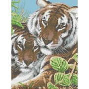 """Канва/ткань с нанесенным рисунком Каролинка """"Тигры"""""""