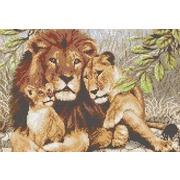 """Канва/ткань с нанесенным рисунком Каролинка """"Семья львов"""""""