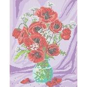 """Канва/ткань с нанесенным рисунком Каролинка """"Маки в вазе"""""""