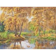 """Канва/ткань с нанесенным рисунком Каролинка """"Осень в отражении"""""""