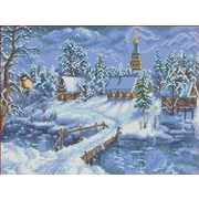 """Канва/ткань с нанесенным рисунком Каролинка """"Зимний вечер"""""""
