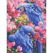 """Канва/ткань с нанесенным рисунком Каролинка """"Голубые Ара"""""""