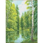 """Канва/ткань с нанесенным рисунком Каролинка """"Озеро в лесу"""""""