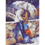 """Канва с нанесенным рисунком Каролинка """"Двое под зонтом"""""""