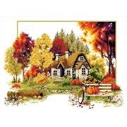 """Канва/ткань с нанесенным рисунком Каролинка """"Осенний домик"""""""