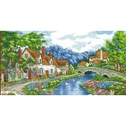 """Канва/ткань с нанесенным рисунком Каролинка """"Альпийский городок"""""""