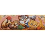 """Ткань с рисунком для вышивки бисером Конёк """"Игровые котята"""""""