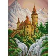"""Ткань с рисунком для вышивки бисером Конёк """"Замок в горах"""""""