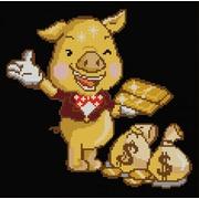 """Ткань с рисунком для вышивки бисером Конёк """"Золотая свинка"""""""