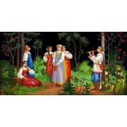 """Ткань с рисунком для вышивки бисером Конёк """"Сбор ягод"""""""