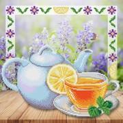 """Ткань с рисунком для вышивки бисером М.П. Студия """"Свежесть утреннего чая"""""""