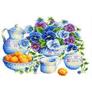 """Канва/ткань с нанесенным рисунком Каролинка """"Голубой букет"""""""