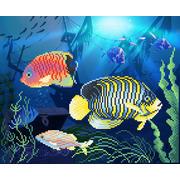 """Ткань с рисунком для вышивки бисером М.П. Студия """"Подводное царство"""""""