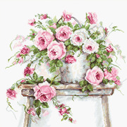 """Набор для вышивания крестом Luca-S """"Розы на табурете"""""""