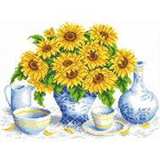 """Канва/ткань с нанесенным рисунком Каролинка """"Подсолнухи в вазе"""""""