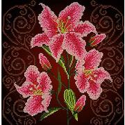 """Ткань с рисунком для вышивки бисером Божья коровка """"Нежная лилия"""""""