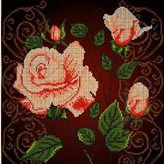 """Ткань с рисунком для вышивки бисером Божья коровка """"Чайная роза"""""""