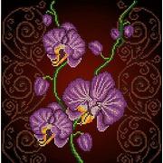 """Ткань с рисунком для вышивки бисером Божья коровка """"Орхидея фиолетовая"""""""