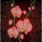 """Ткань с рисунком для вышивки бисером Божья коровка """"Орхидея розовая"""""""