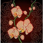 """Ткань с рисунком для вышивки бисером Божья коровка """"Орхидея бежевая"""""""