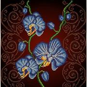 """Ткань с рисунком для вышивки бисером Божья коровка """"Орхидея голубая"""""""