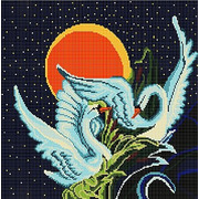 """Ткань с рисунком для вышивки бисером Божья коровка """"Лебеди"""""""