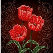 """Ткань с рисунком для вышивки бисером Божья коровка """"Тюльпаны"""""""
