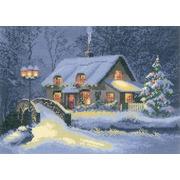 """Набор для вышивания крестом Heritage """"Новогодний домик"""""""
