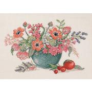 """Набор для вышивания крестом Eva Rosenstand """"Анемоны и тюльпаны в синей вазе"""""""