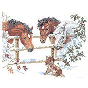 """Набор для вышивания крестом Eva Rosenstand """"Лошадки и щенок"""""""