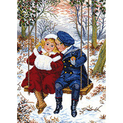 """Набор для вышивания крестом Eva Rosenstand """"Дети на качелях зимой"""""""