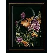 """Набор для вышивания крестом LANARTE """"Девушка и цветы"""""""