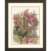 """Набор для вышивания крестом LANARTE """"Гнездящиеся птицы в Рамблер Роуз"""""""